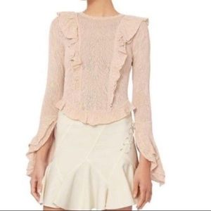 Ronny Kobo pink Pointelle ruffle sweater top Small